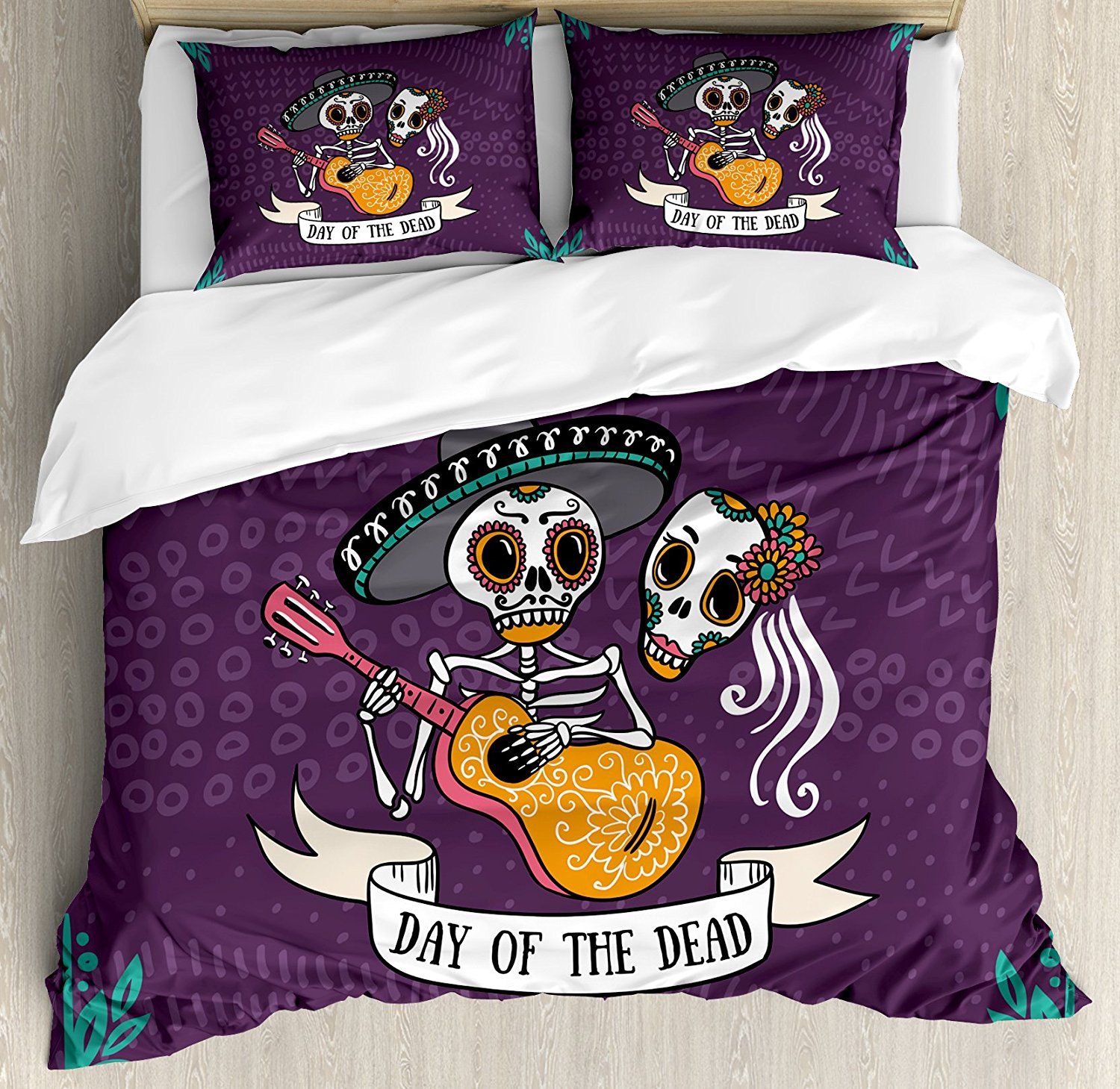 Image of: Day of the Dead Bed Set Purple