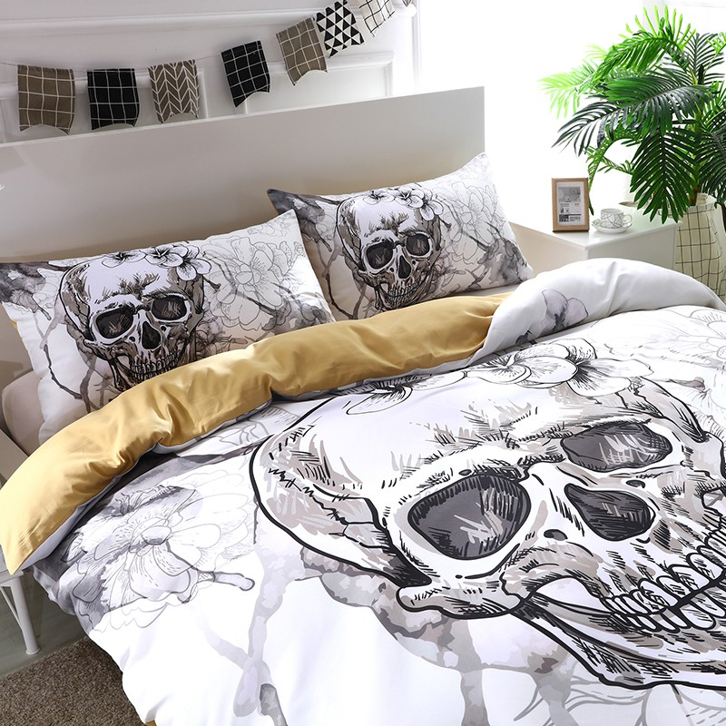 Image of: Day of the Dead Bed Set White
