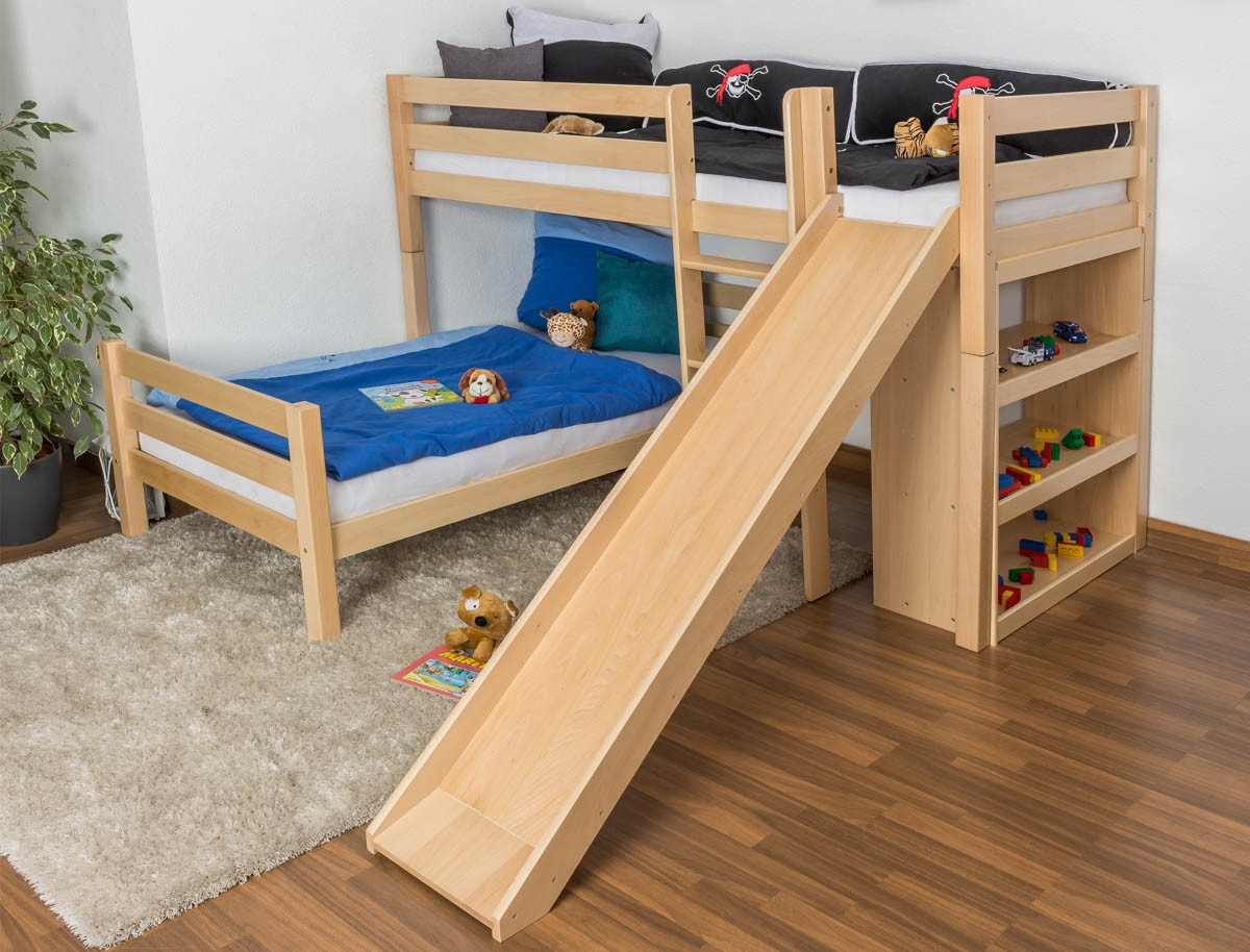 Image of: Double Toddler Bunk Bed with Slide