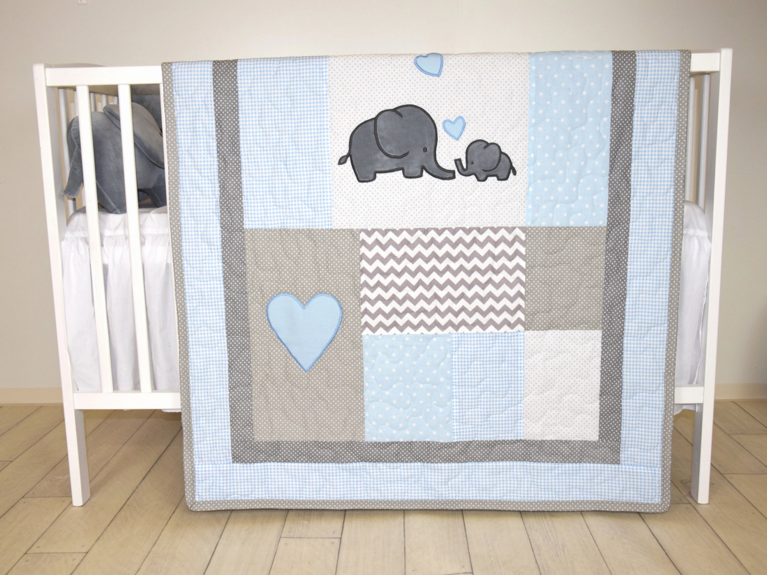 Image of: Elephant Baby Girl Bedding Blue