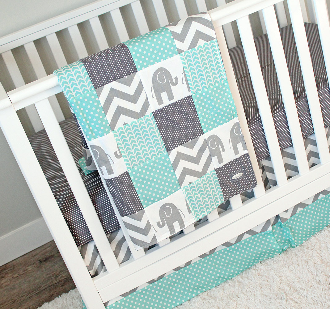 Image of: Elephant Baby Girl Bedding Chevron