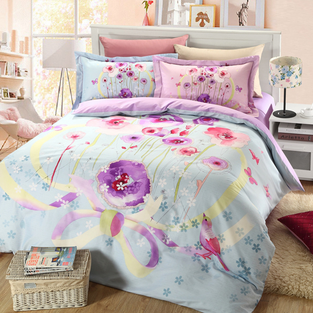 Image of: Floral Bed Set Blue