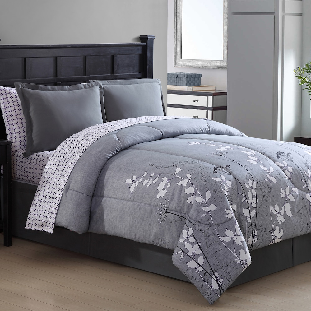 Image of: Floral Bed Set Gray