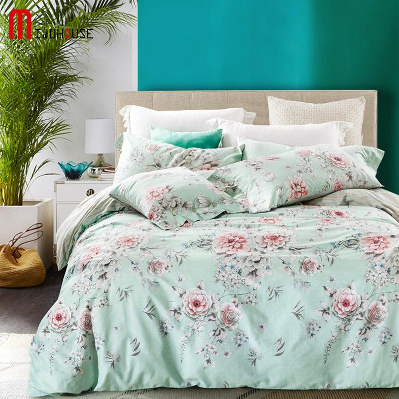 Image of: Floral Bed Set Green