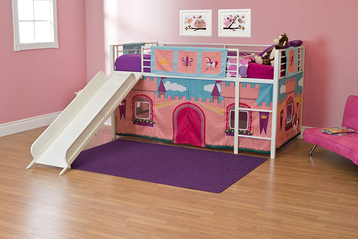 Image of: Girls Curtain Set For Loft Bed