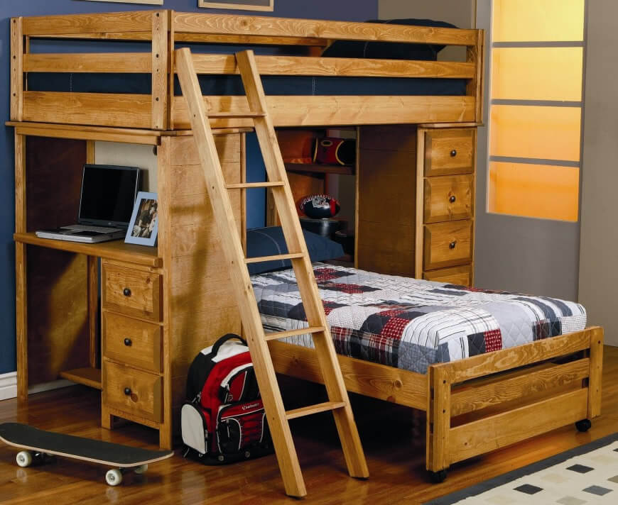 Image of: Great Wooden Loft Bed