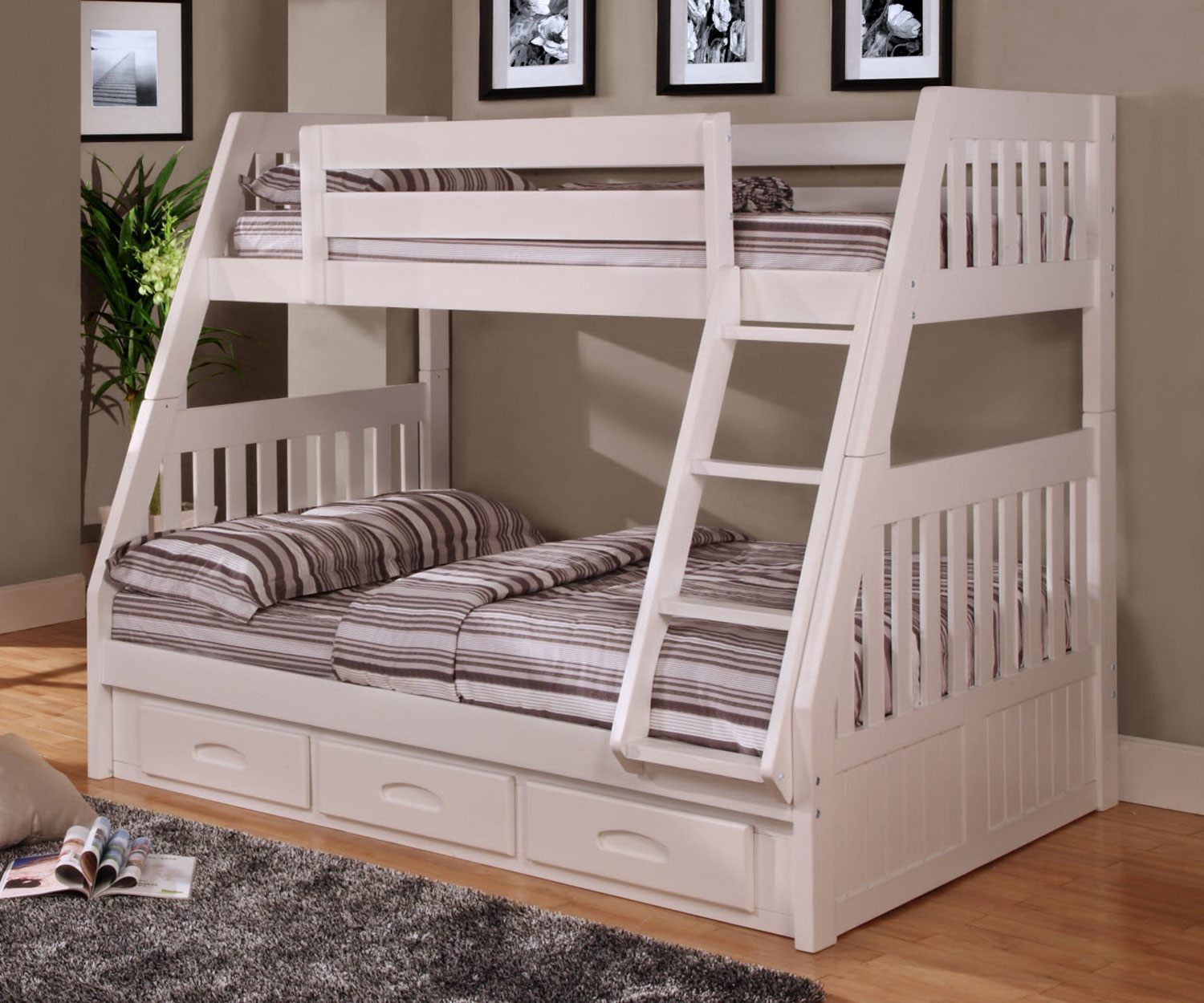 Image of: Grey Full Bunk Bed