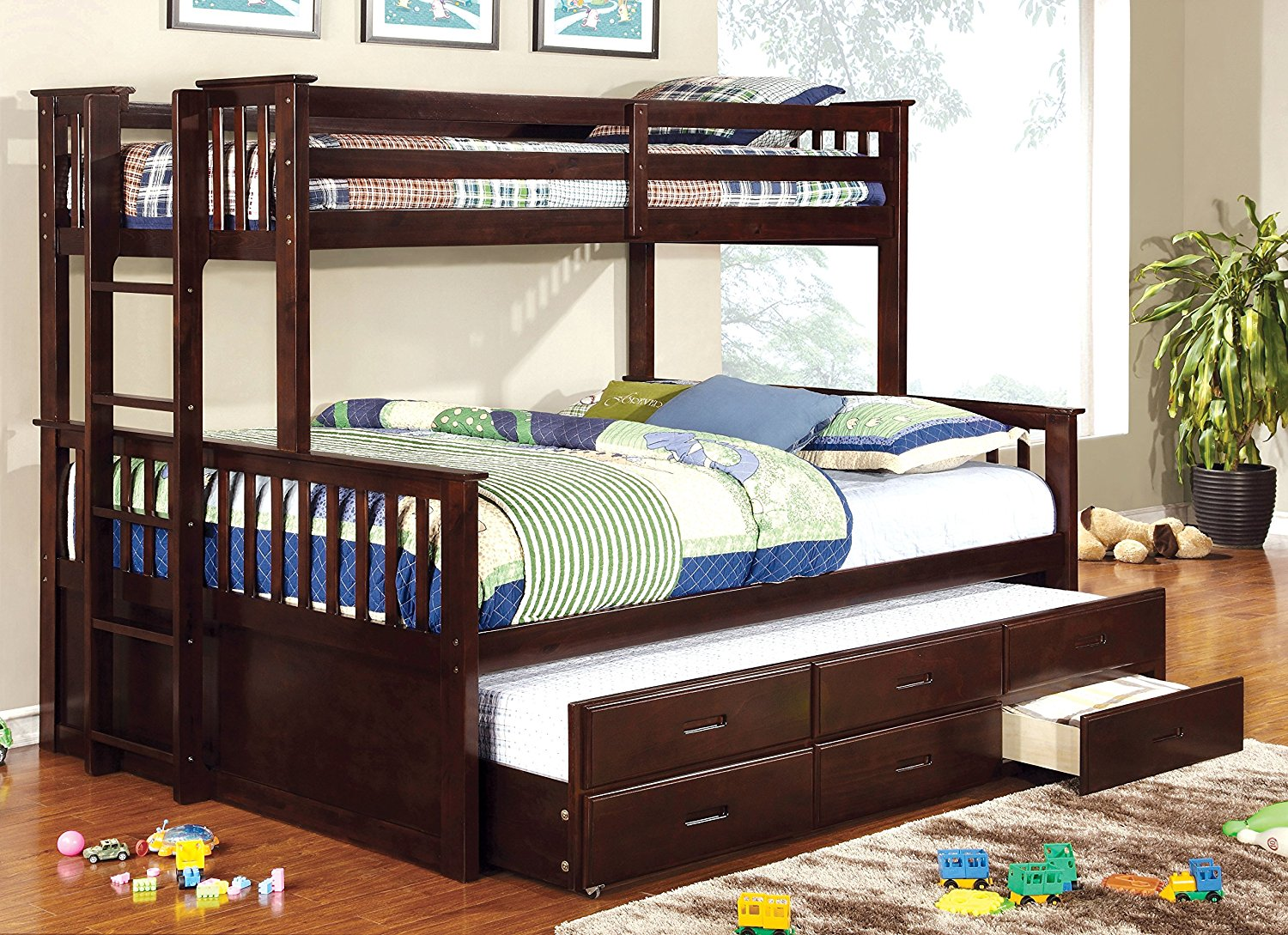 Image of: Kids Queen Bed with Trundle