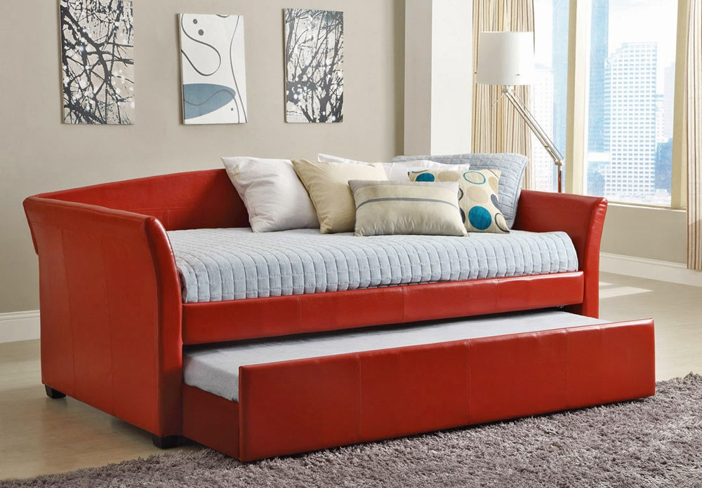 Image of: Leather Day Beds with Trundle