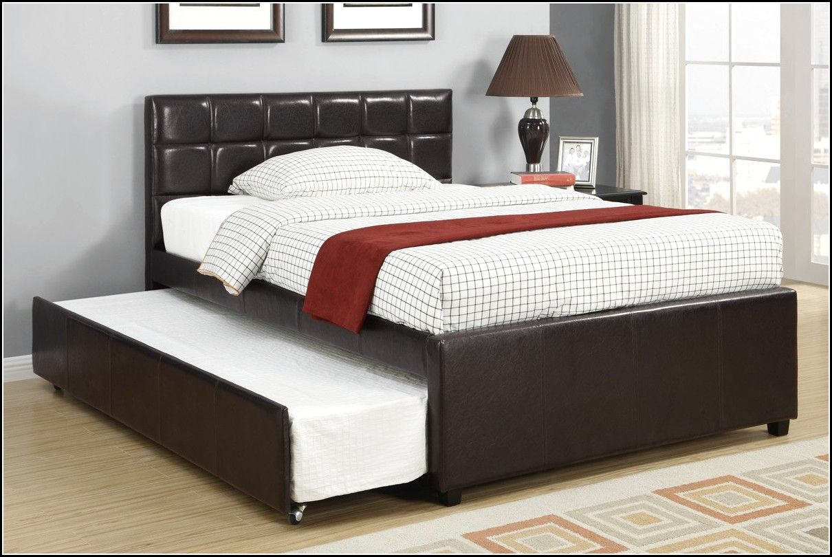 Image of: Leather Queen Bed with Trundle