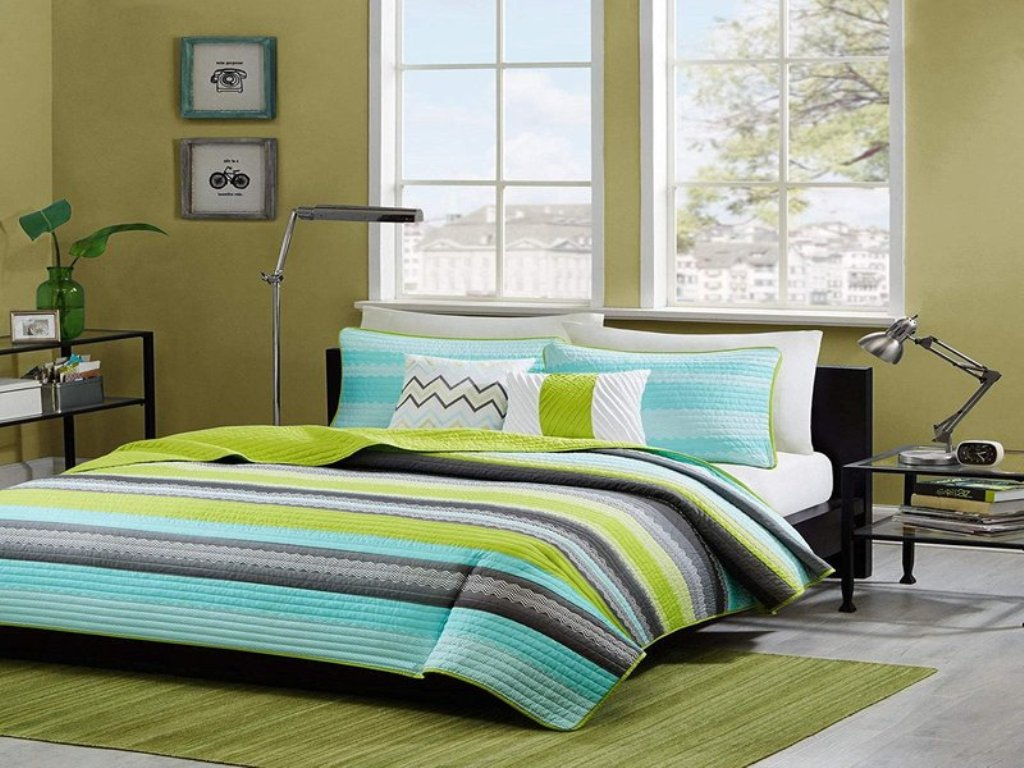 Image of: Lime Blue And Green Bedding Sets