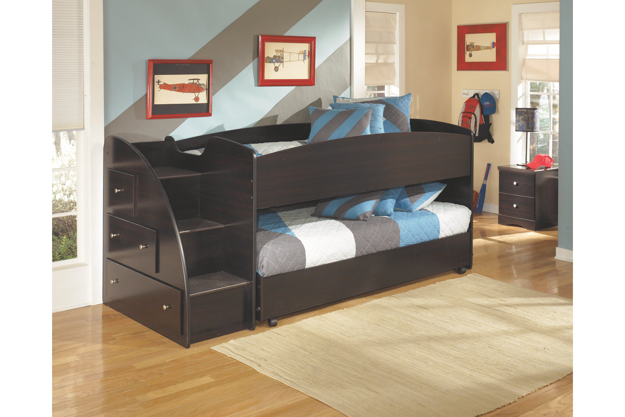 Image of: Loft Bed with Trundle Stairs