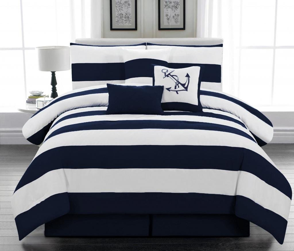 Navy Blue and White Bedding Sets