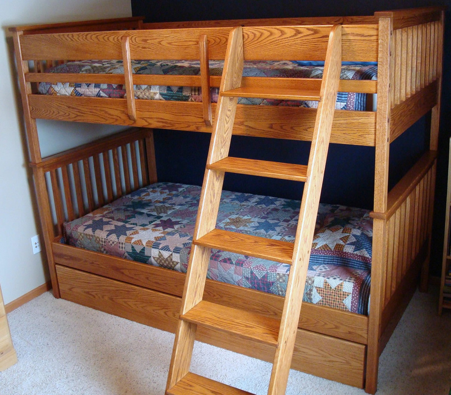 Image of: Oak Bunk Beds with Trundle