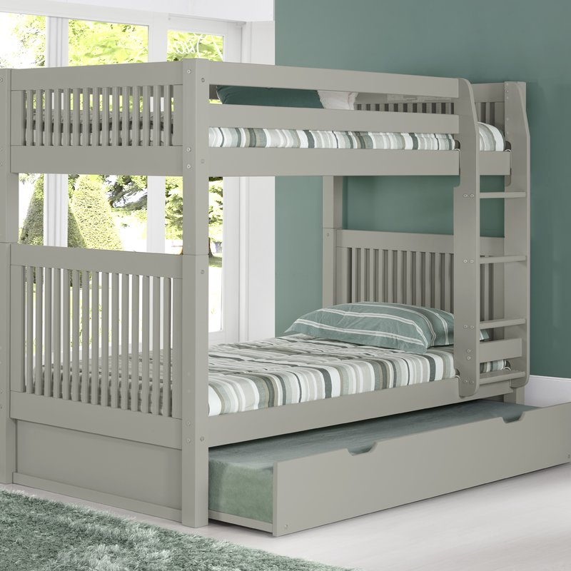 Image of: Painted Grey Bunk Beds with Trundle