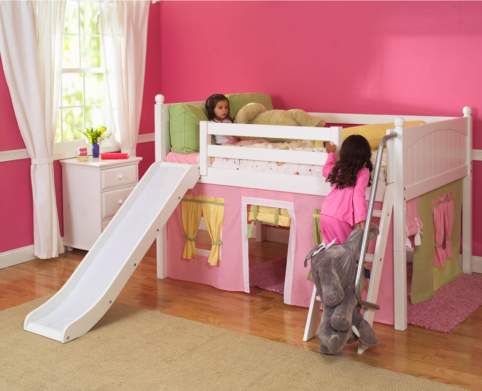 Image of: Pink Toddler Bunk Bed with Slide