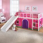 Pink and White Toddler Bunk Bed with Slide