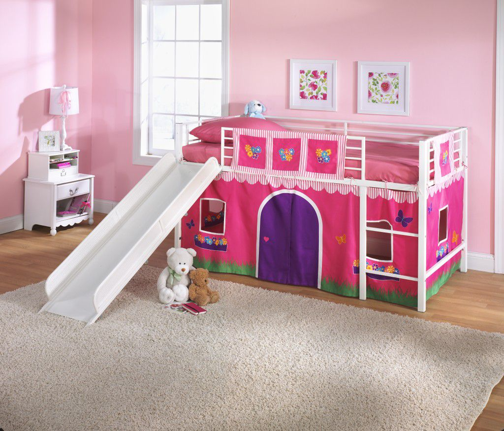 Image of: Pink and White Toddler Bunk Bed with Slide