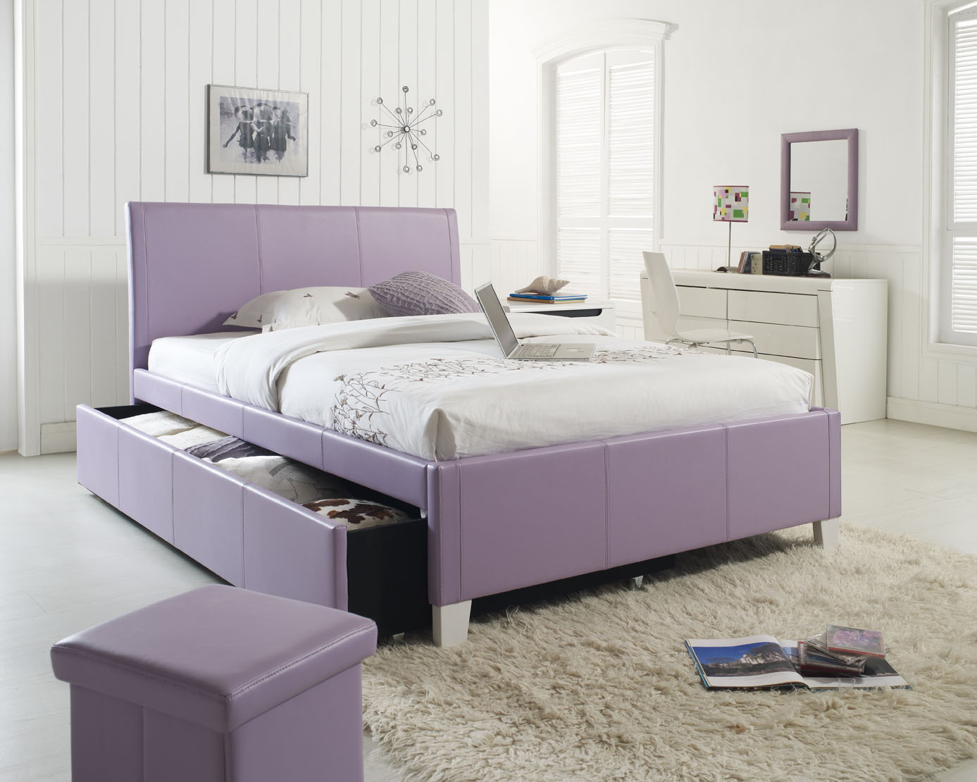 Image of: Purple Queen Bed with Trundle