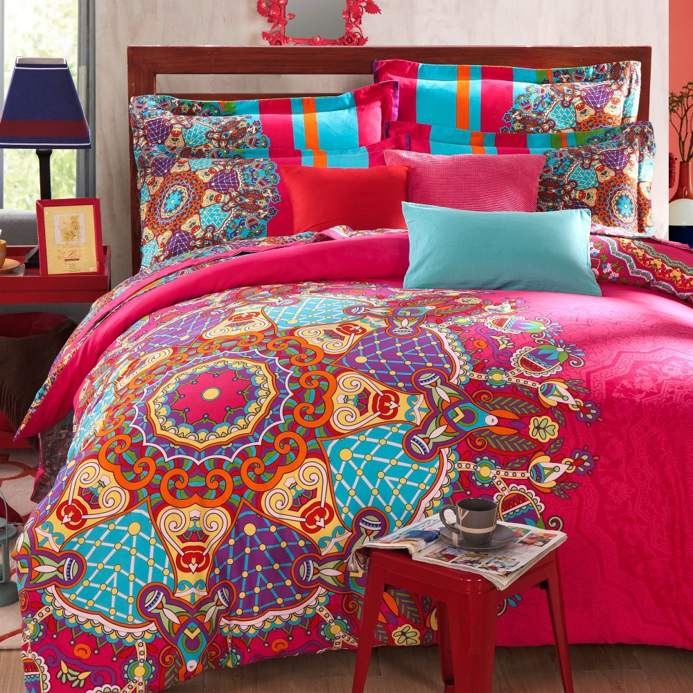 Image of: Red Bohemian Bedding Sets