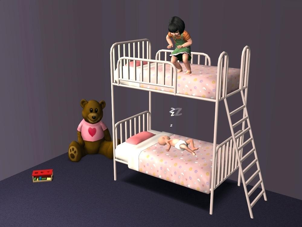 Image of: Sims 4 Bunk Beds Ladder