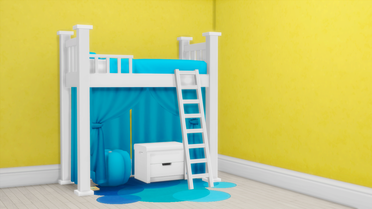 Image of: Sims 4 Bunk Beds White