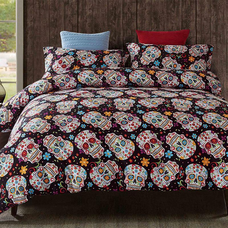 Image of: Skull Day of the Dead Bed Set