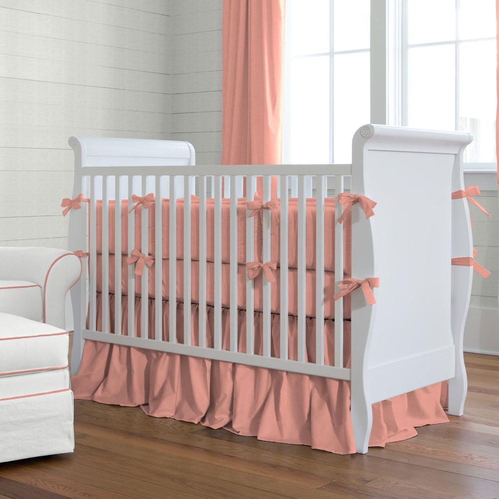 Image of: Solid Coral Baby Bedding