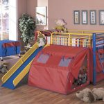 Toddler Bunk Bed with Slide and Tent