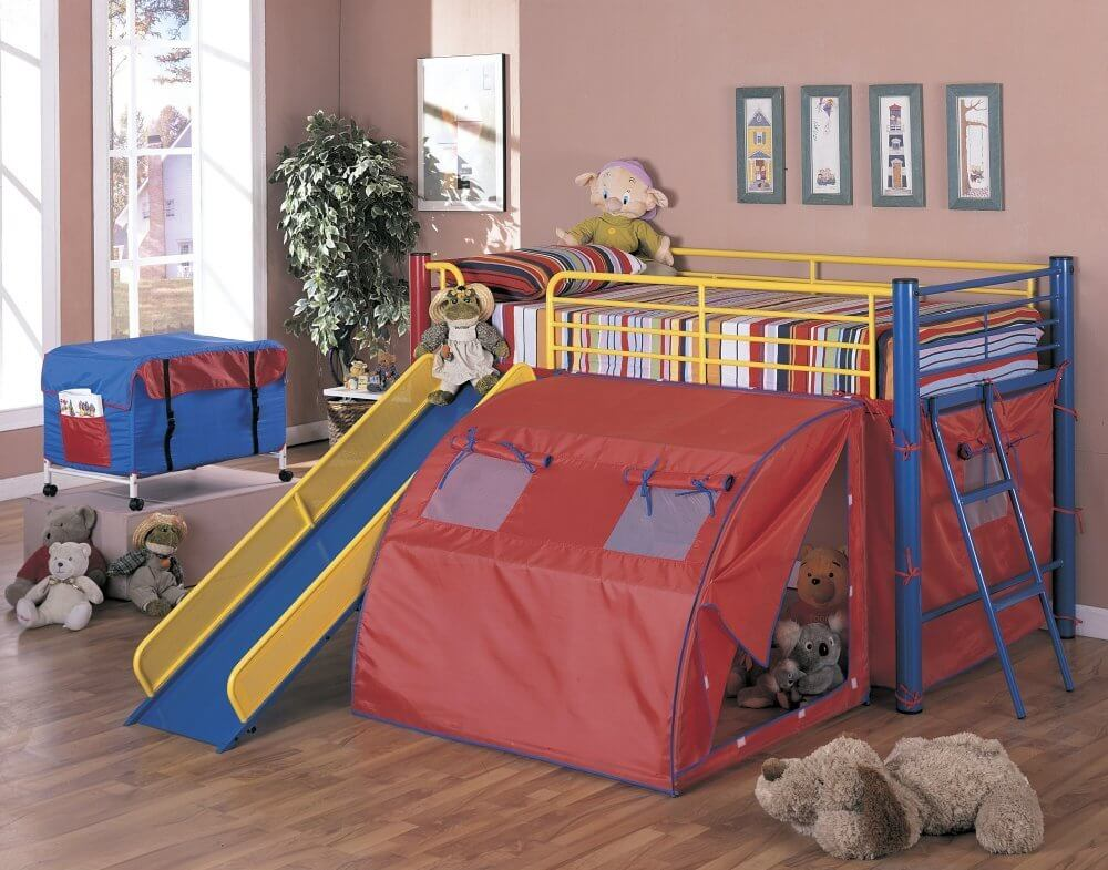 Image of: Toddler Bunk Bed with Slide and Tent