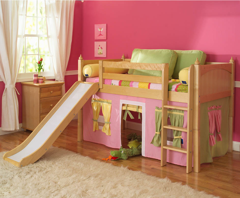 Image of: Toddler Bunk Bed with Slide for Girl