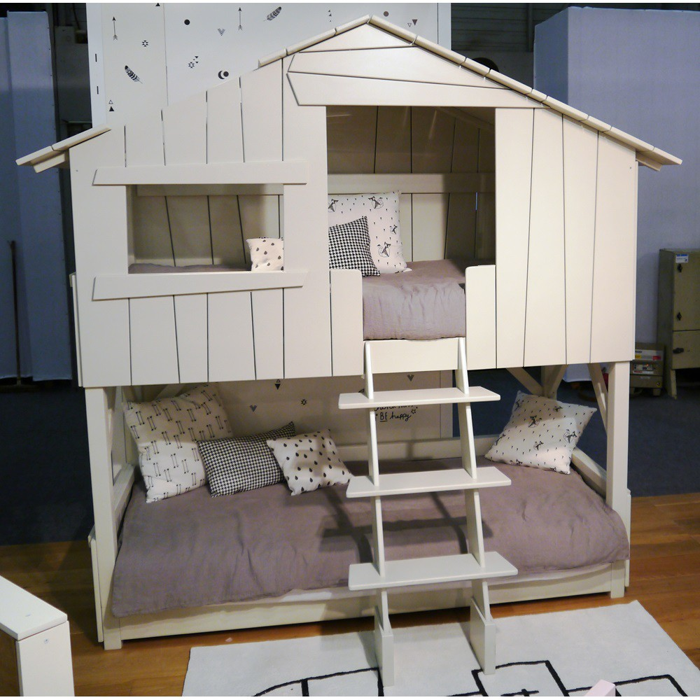 Image of: Treehouse Bunk Bed White