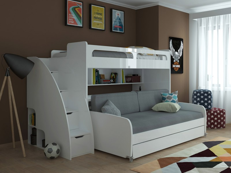 Image of: White Bunk Bed With Trundle