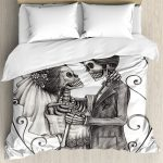 White Day of the Dead Bed Set