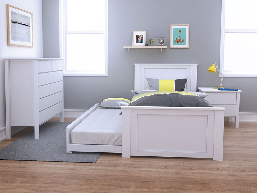 Image of: White Single Trundle Bed Frame