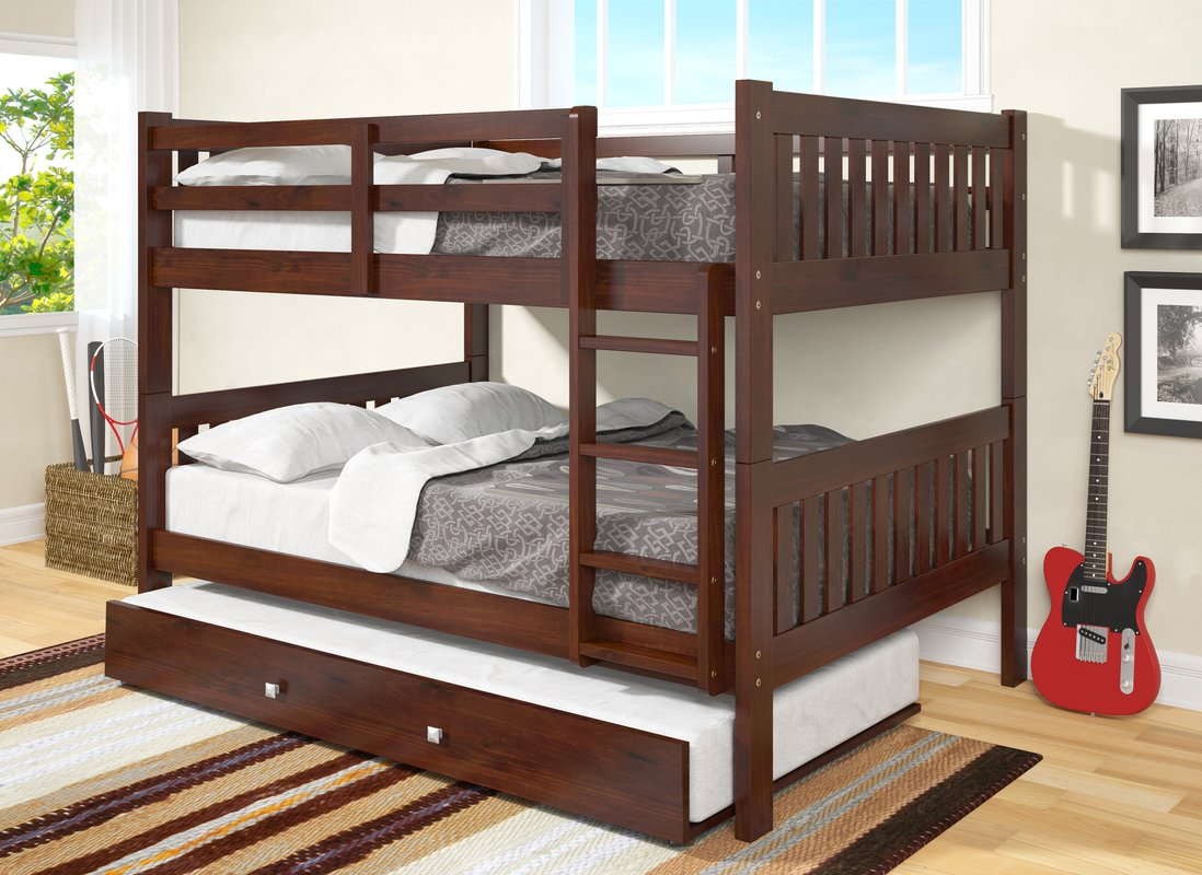 Image of: Wood Bunk Bed With Trundle