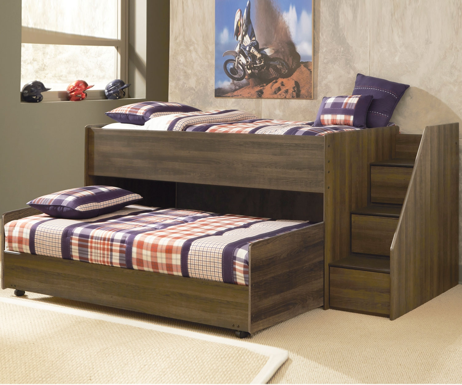 Wood Loft Bed with Trundle
