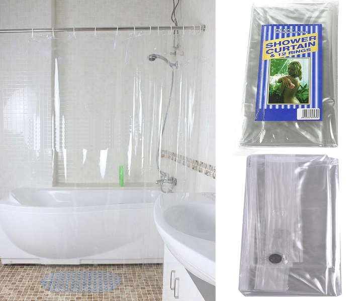 Image of: Clear Plastic Shower Curtain