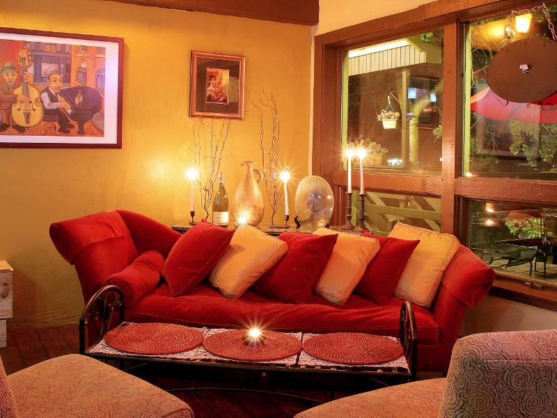 Image of: Gold Pillows On A Red Living Room Set