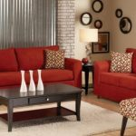 Microfiber And Leather Red Living Room Set