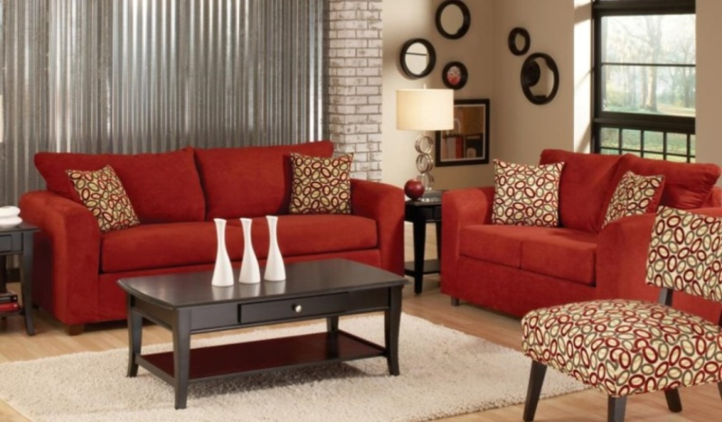 Image of: Microfiber And Leather Red Living Room Set