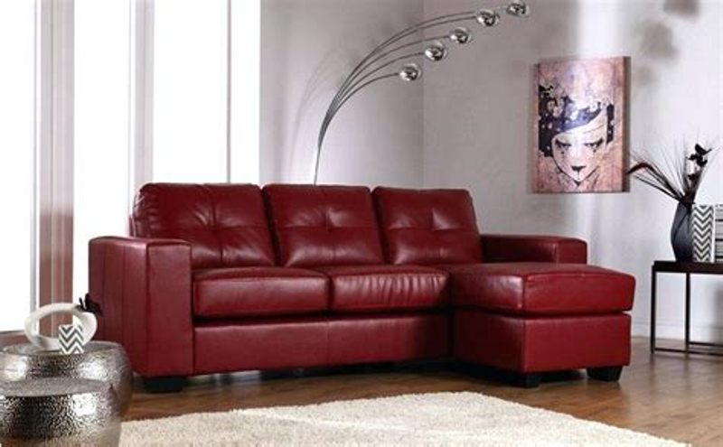 Image of: Real Red Leather Living Room Set