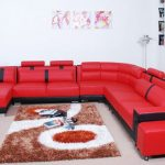 Red And Black Faux Leather Modern Living Room Sofa Set