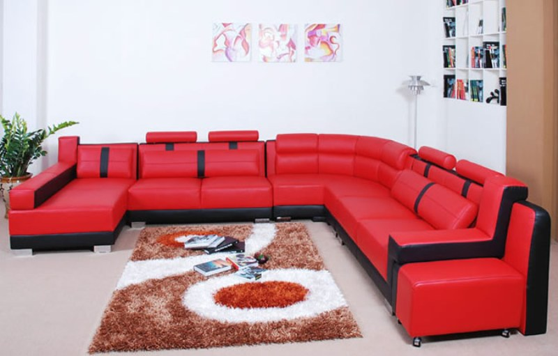 Image of: Red And Black Faux Leather Modern Living Room Sofa Set
