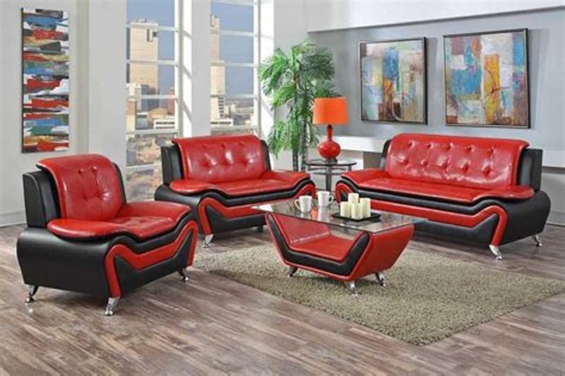 Image of: Red And Black Living Room Set