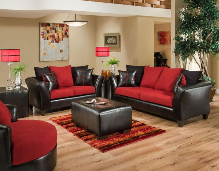 Image of: Red And Black Microfiber Living Room Set