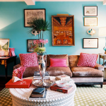 Red And Turquoise Living Room