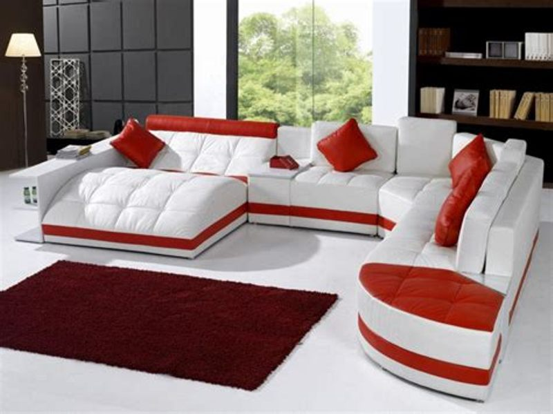 Image of: Red And White Living Room Set