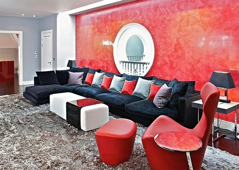 Image of: Red Black And White Living Room Set