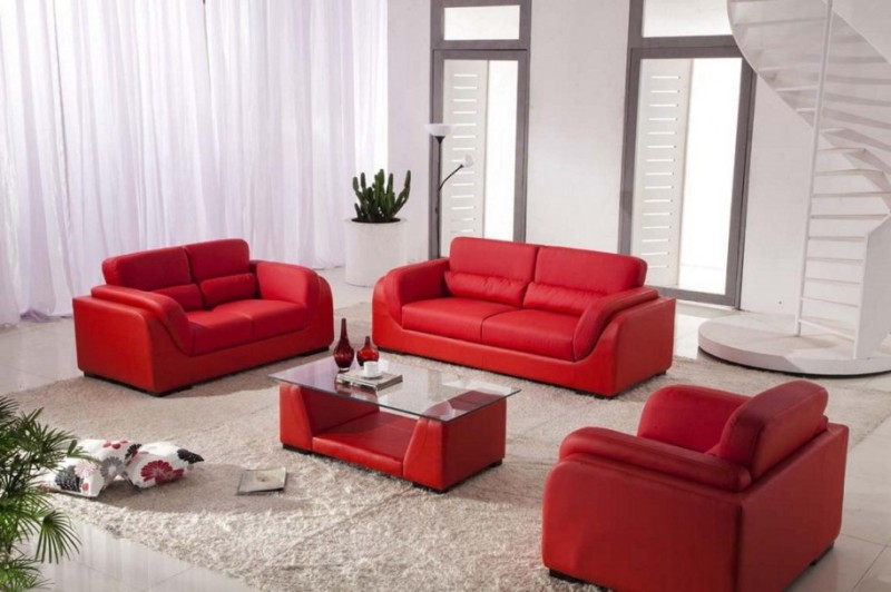 Image of: Red Couch Living Room Set